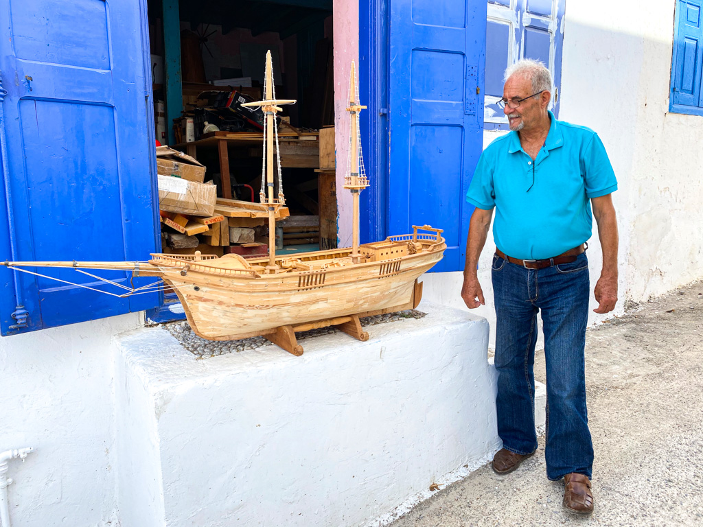 The locals of Kasos showed their island very warmly.  Pictured is Manolis Magiorkinos, a retired seafarer who makes wooden ship models that incorporate traditional maritime elements from the island's history.