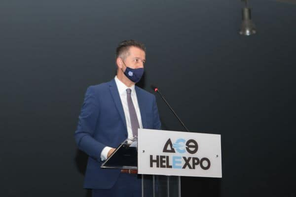 Grigoris Tasios during the Hellenic Hoteliers Federation's 2020 general assembly in Thessaloniki.
