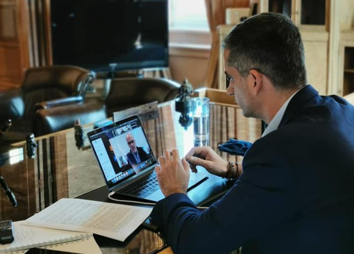 Athens Mayor Kostas Bakoyannis during his teleconference with the Athens Chamber of Commerce & Industry (ACCI), the Greek Tourism Confederation (SETE), the Athens Chamber of Tradesmen and the Athens Traders Association (ESA).