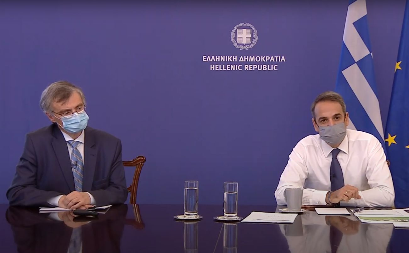 Greek infectious diseases expert Professor Sotiris Tsiodras and Prime Minister Kyriakos Mitsotakis.