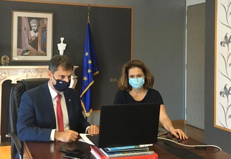 Greek Tourism Minister Harry Theoharis and Secretary General for Tourism Policy Vicky Loizou is discussion during WTM Virtual.