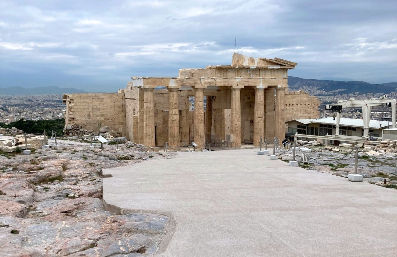 A new pathway at the Acropolis with the Propylaea in the background.
