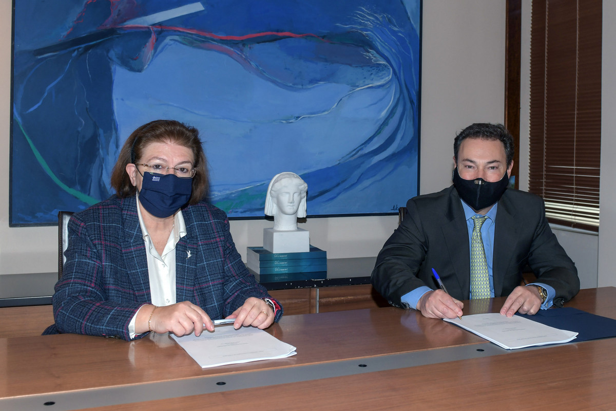 Greek Culture Minister Lina Mendoni and Lamda Development CEO Odisseas Athanasiou.