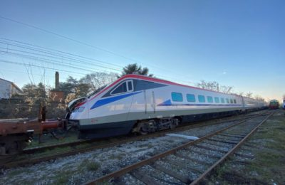 The ETR470 Pendolino train on its way to Greece. Photo source: Alstom