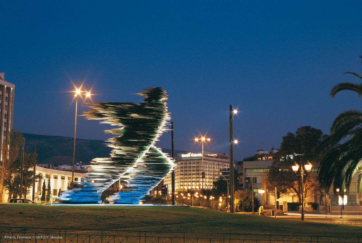 The glass Runner statue in Athens. Photo source: Visit Greece / Y. Skoulas