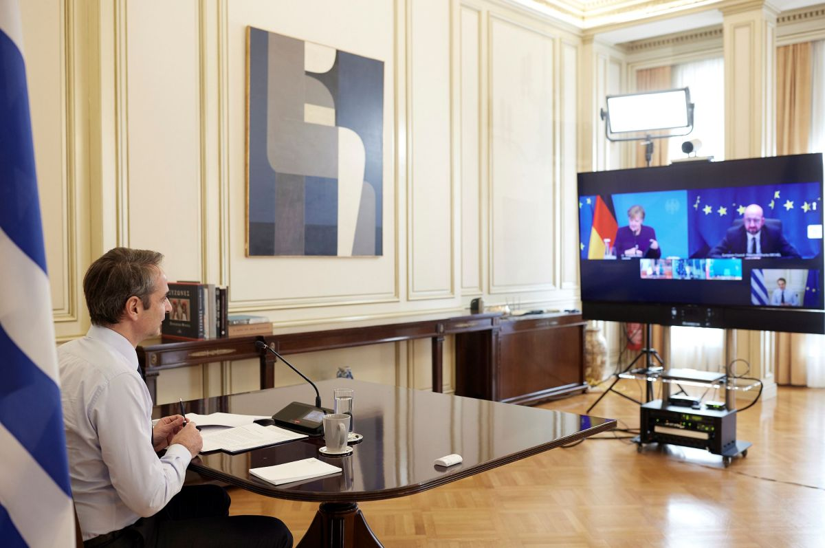 Prime Minister Kyriakos Mitsotakis' conference call with EU leaders in preparation for the European Council meeting to take place on Thursday. Photo source: primeminister.gr