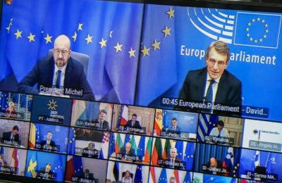 Video conference of the members of the European Council. Photo source: European Parliament