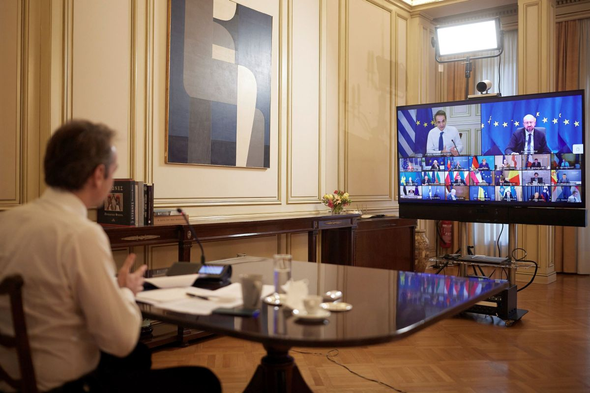 Greek Prime Minister Kyriakos Mitsotakis speaking during the video conference. Photo source: primeminister.gr