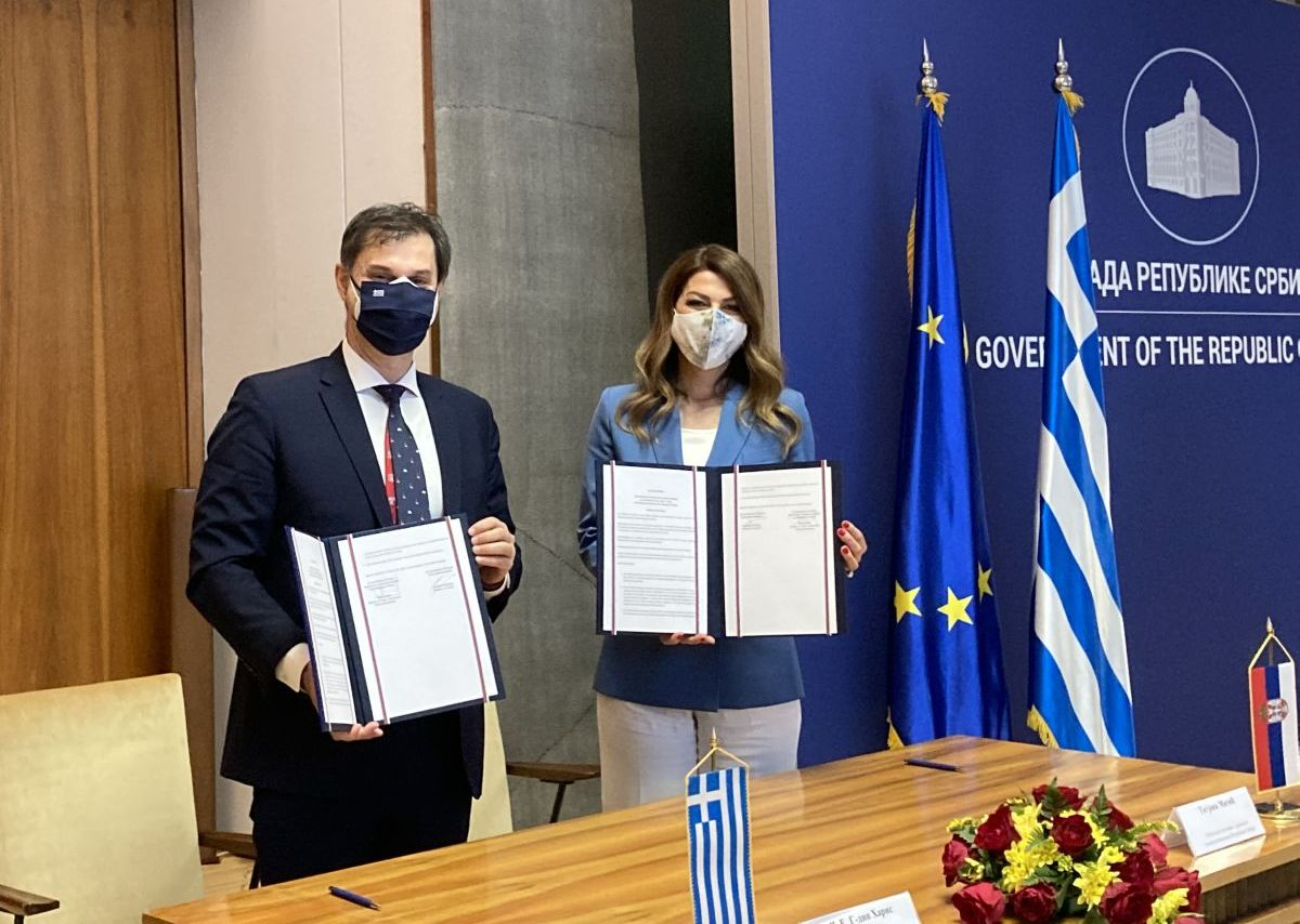 Greek Tourism Minister Harry Theoharis and his Serbian counterpart Tatjana Matic in Belgrade.