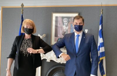 Greek Tourism Minister Harry Theoharis and the UK Under-Secretary of State, Minister for European Neighbourhood and the Americas, Wendy Morton.