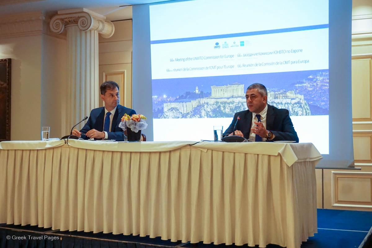 Greek Tourism Minister Harry Theoharis and UNWTO Secretary General Zurab Pololikashvili.