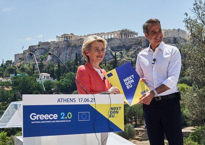 European Commission President Ursula von der Leyen and Greek Prime Minister Kyriakos Mitsotakis in Athens. Photo source: European Commission