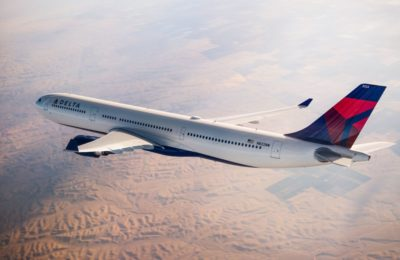 An Airbus 330-300 (333) flying over mountains. Photo source: Delta AIr Lines