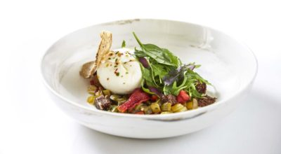 Buffalo burrata from Kerkini, grilled vegetable salad and fig pie.