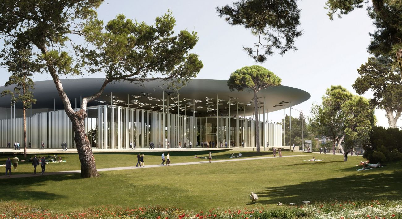 Impression of one of the island-shaped exhibition spaces from the winning design for the Thessaloniki ConfEx Park.
