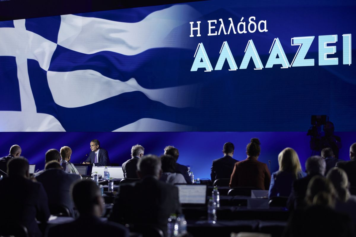 Greek Prime Minister Kyriakos Mitsotakis speaking to journalists during a press conference held on the sidelines of the 85th Thessaloniki International Fair (TIF).