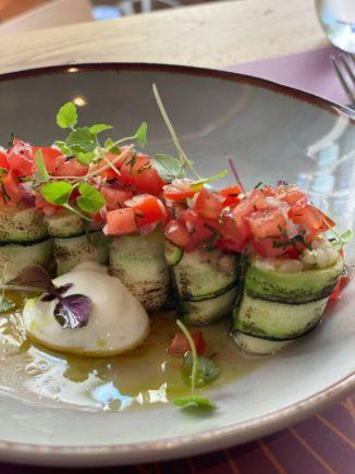 Maki of zucchini yalantzi, tangy lemon yaourti, tomato tartare