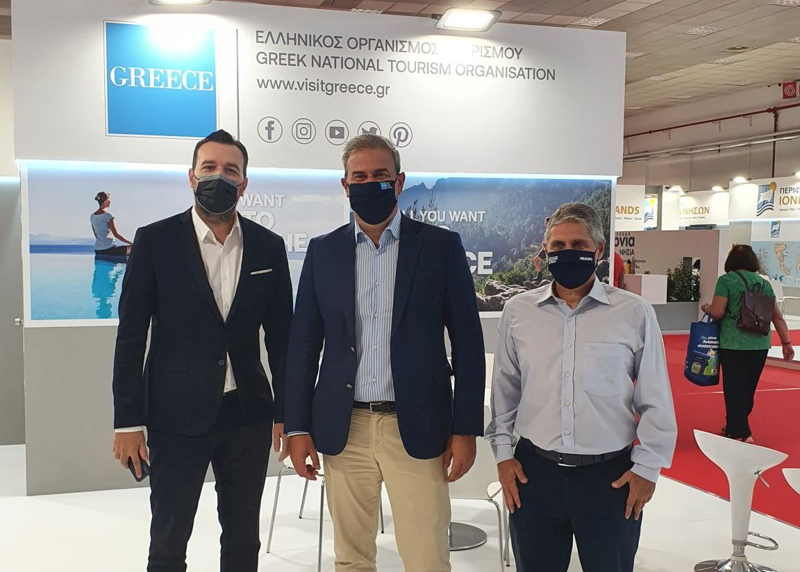 GNTO Secretary General Dimitris Fragakis with Central Macedonia Deputy Governor for Tourism Alexandros Thanos (left) and Thessaloniki Hotels Association President Andreas Mandrinos during the 85th Thessaloniki International Fair.