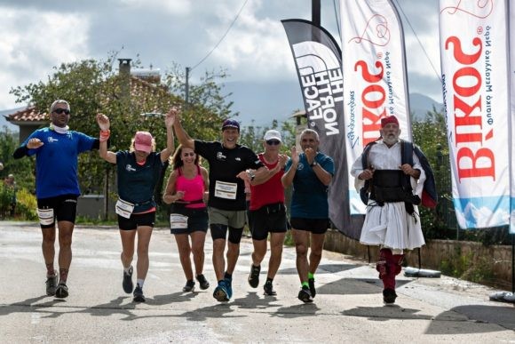 Runners of Run Messinia all together at the finish line.