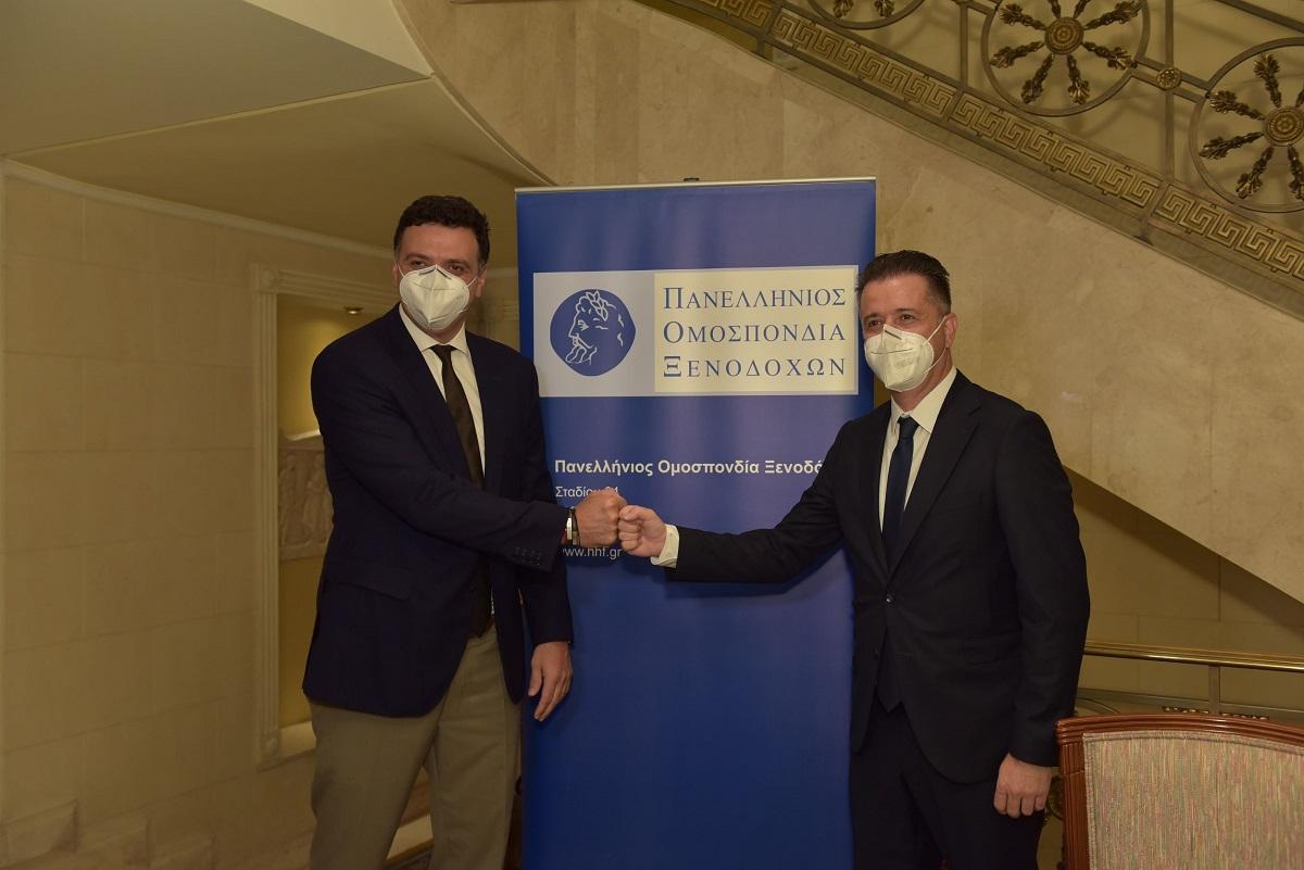 Greek Tourism Minister Vasilis Kikilias with POX President Grigoris Tasios.