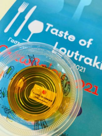 Greek olive oil tasting at the preview event for next year's 'Taste of Loutraki'.