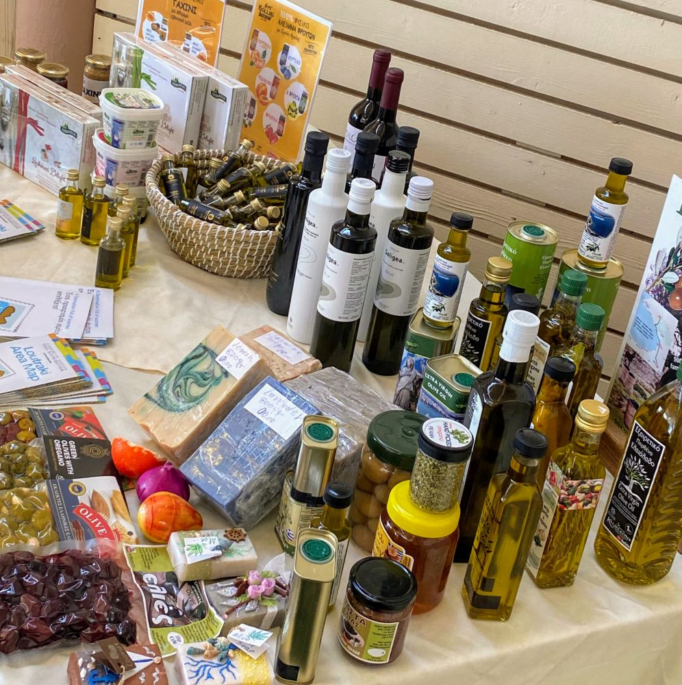 Products from Loutraki and the wider Corinthia region.