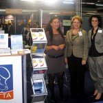 Tatianna Filippa of HATTA, with Lydia Mastronikoli and Dora Sgartsou of HAPCO at the common stand of the two associations.