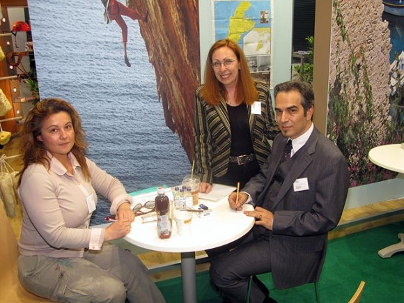 Mary Papadopoulou (Fivos Tours) with Evdokia Vouvali and Nikolaos Papadopoulos (Kalymnos Municipality) at the stand of the Prefecture of the Dodekanissos who informed visitors of the island group's alternative forms of tourism.