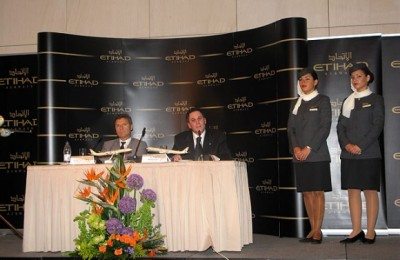 Dr. Yiannis Paraschis, CEO of Athens International Airport, and Peter Baumgartner, chief commercial officer of Etihad Airways. In April, the airline won the Skytrax World Airline Award for having the best business class in the world.