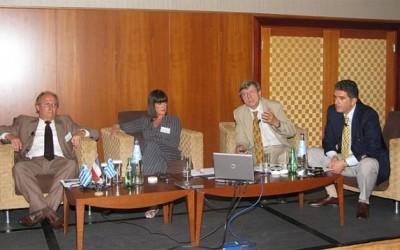 Dominique Ferraris, (Accor group); Brigitta Papastavrou, (Agrotima); Jean-Pierre Martinetti (Cite De La Culture Et Du Tourisme Durable - Paca); and Yiorgos Drakopoulos (SETE) during the workshop.