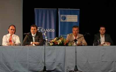 Aris Ikkos (GBR Consulting); Giannis Kofinis (GNTO); Andreas Andreadis (Hellenic Hotels Federation); and Grigoris Tasios (Halkidiki Hotel Association), formed the panel of the workshop held recently in Chalkidiki.