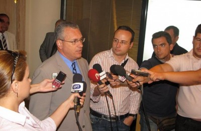 Tourism Minister Kostas Markopoulos speaks to journalists after the meeting he chaired in regards to improving safety for tourists and citizens in downtown Athens.