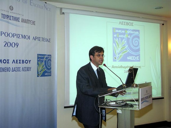 Nikos Zouros, director of the Natural History Museum of the Lesvos Petrified Forest, refered to the open-air parks on Lesvos: the petrified forest park, the Sigri park and the small island of Nisiopi.