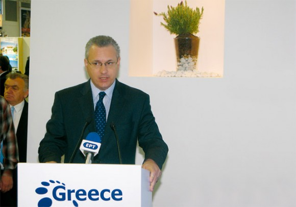 Tourism Minister Kostas Markopoulos during the inauguration of the GNTO stand.