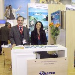 "Samos-Ikaria-Fourni representatives Christos Vasileiou, associate to the tourism promotional organization of Samos, and Lia Vourinikou of the island's prefect. ""These islands constitute a particular destination that balances history, culture and environment without the drawbacks of industrial tourism,"" said Mr. Vasileiou."