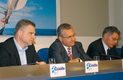 Meletios Tzaferis, new secretary general of the tourism ministry; Kostas Markopoulos, tourism minster; and Emmanuel Alexandrakis, special secretary to the ministry, during the press conference.
