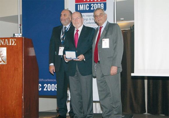 Tassos Koumanis (center), founder and president of Xenia Exhibitions-Conferences. On his left is Kostas Konstantinidis, chairman IMIC advisory board, and on his right is Tassos Pappas (CITE), president SITE Greek Chapter.