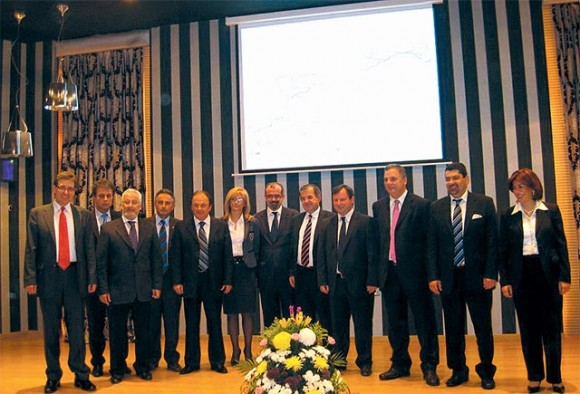 Representatives from the prefectures that attended the agreement signed for the development of the Egnatia Odos motorway. On far right HATTA's president Argyro Phili.
