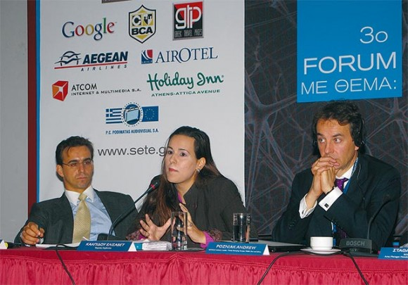 Fotis Kokotos, Elounda S.A. Hotels and Resorts; Elisavet Kalpidou, legal consultant; and Andrew Pozniak, travel industry leader in the Central and Eastern Europe, Middle East and African markets, Google.com. Ms. Kalpidou emphasized that one of the negative aspects of social media is that it is almost impossible to control the content on blogs. She explained that as many hoteliers expressed their discontent to the fact that some hotel owners pose as customers and post fictitious comments on blogs in order to lure in more clientele.