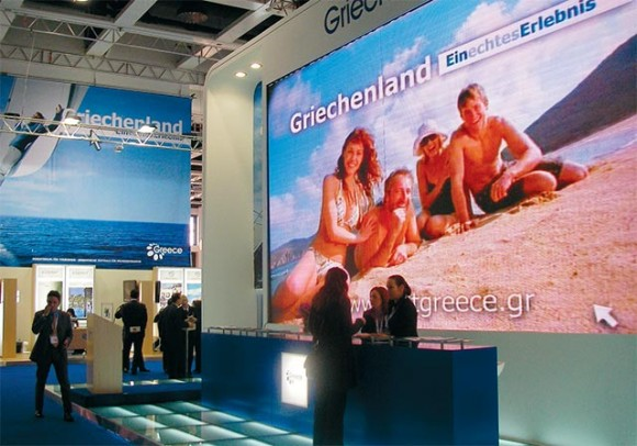 The award-winning GNTO stand received much admiration during the exhibition. It included a walk-through video projection tunnel showing Greek scenery and a mezze and wine- tasting corner.