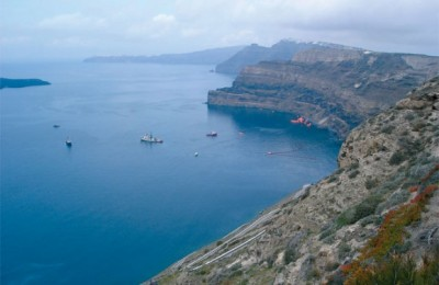 Santorini Caldera's cleanup, operated by Louis Hellenic Cruises, after the accident of