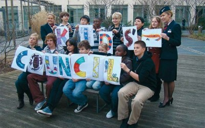 Gerasimos Kavalieratos (standing, third from right) with the other 12 children that make up British Airway's Kids' Council, outside the airline's headquarters in Waterside, London. Representatives in the council also include children from Britain, Hong Kong, Uganda, Mexico, South Africa and Kenya.