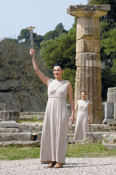 Olympic Flame's lit ceremony at Ancient Olympia