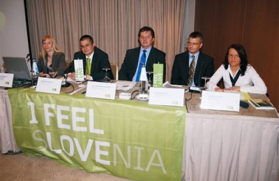 Slovenian Tourist Board Representative Karmen Novarlic with Director of the Slovenian Tourist Board Dimitrij Piciga, Ambassador of the Republic of Slovenia Vladimir Kolmanic, Assistant to VP Sales & Marketing at Adria Airways Tomaz Skofic and Ljubljana Tourist Board Representative Petra Stusek at the press conference held to announce the new direct flight Athens-Ljubljana.