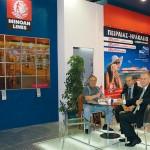 Manager of Greek Ferries, Nikos Vergetakis, Heraklion Port Authority Manager Pantelis Zacharioudakis and Minoan Marketing & Domestic Sales Manager Christos Batsidis at the Minoan Lines stand.