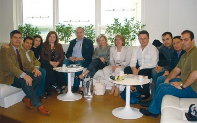 Sales manager for Continental Airlines in Greece, Dimitris Karagioules, with Navigator Travel & Tourist Services General Managing Director Andreas Stylianopoulos, Lia Seitanidou (Aktina Horizon), Stefania Gkova (Aktina Travel), Stavros Bouzanis (Dream Travel), Efi Economou (Efilial Travel), Vivian Benmayor (Memphis Travel), Tasos Avramopoulos (Atlantic Bulk Carriers), Dimitris Matheos (Aspida Travel), Makis Benetatos (Carlson WagonLit) and Stelios Ioannidis (Kyvernitis Travel) at the Executive Lounge of Athens International Airport just before the group's departure.