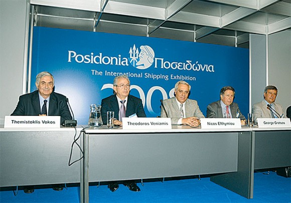 Themistoklis Vokos, chairman of Posidonia Exhibitions, S.A. (the event organizer); Theodoros Veniamis, member of the Union of Greek Shipowners board of directors; Nicos Efthymou, president of the Union of Greek Shipowners and George Gratsos, president of the Hellenic Chamber of Shipping at a press conference held during Posidonia 2008.