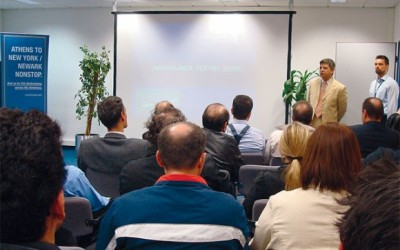 Dimitris Karagioules, Continental Airlines sales manager for Greece (standing left), spoke at the second seminar organized by the airline for travel agency representatives.