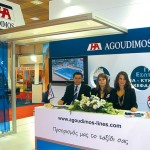 Sales representative, Manos Chinakis, and reservation department representatives, Natassa Stamatopoulou and Theodora Kolyrioti, welcomed guests at the Agoudimos Lines stand, which received a Philoxenia award this year.