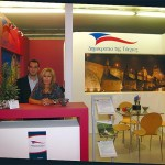 Goldair's staff member, Damianos Prokopidis, and public relations manager, Margarita Zambeli, at the stand of the Czech Tourist Authority. According to figures, the amount of Greeks who visited the Czech Republic in 2007 amounted to 61,795 and made 191,656 overnight stays, an increase of 112.6 percent compared with 2006.